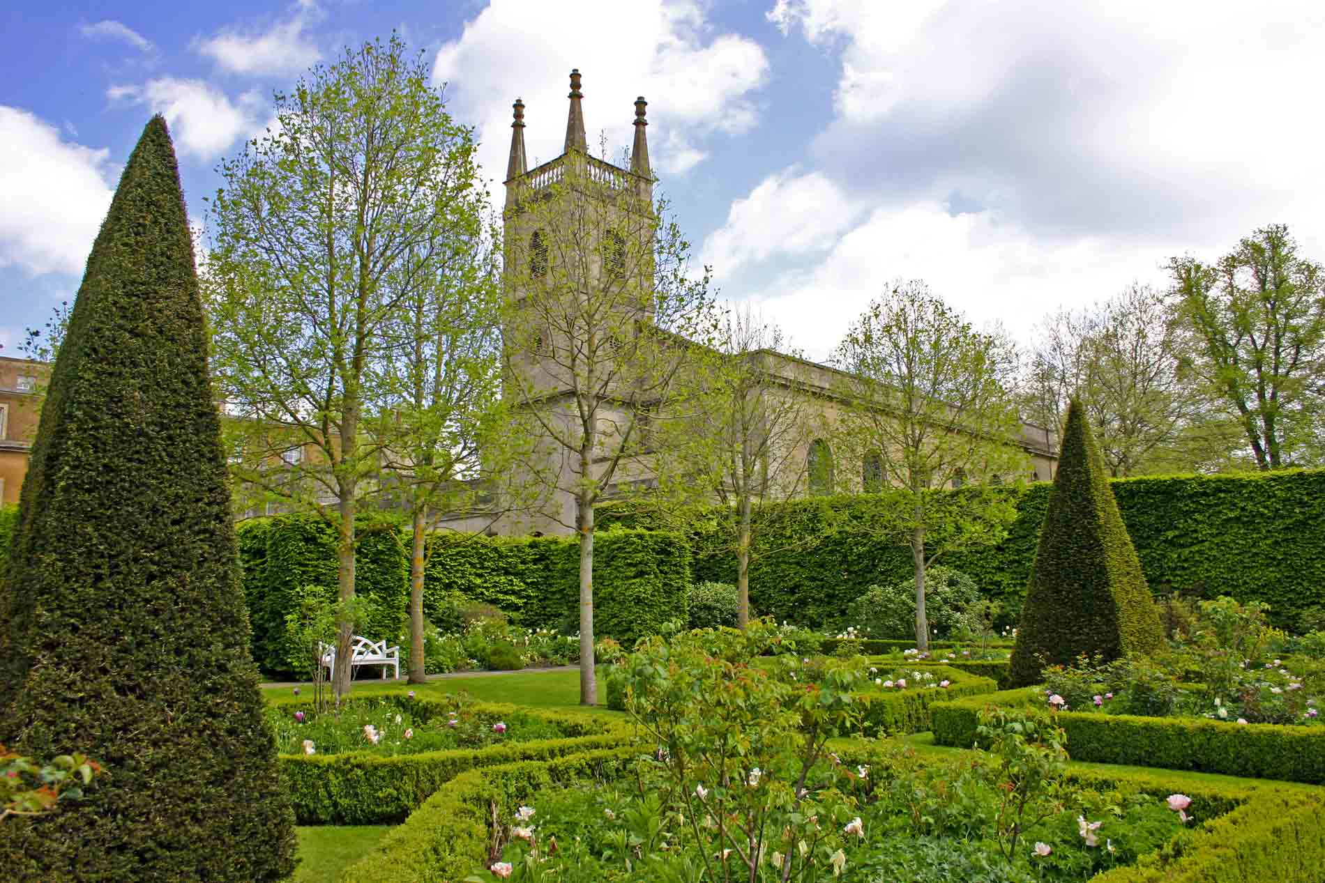 St. Michael and All Angels, Great Badminton Seen from Badminton House's South Gardens