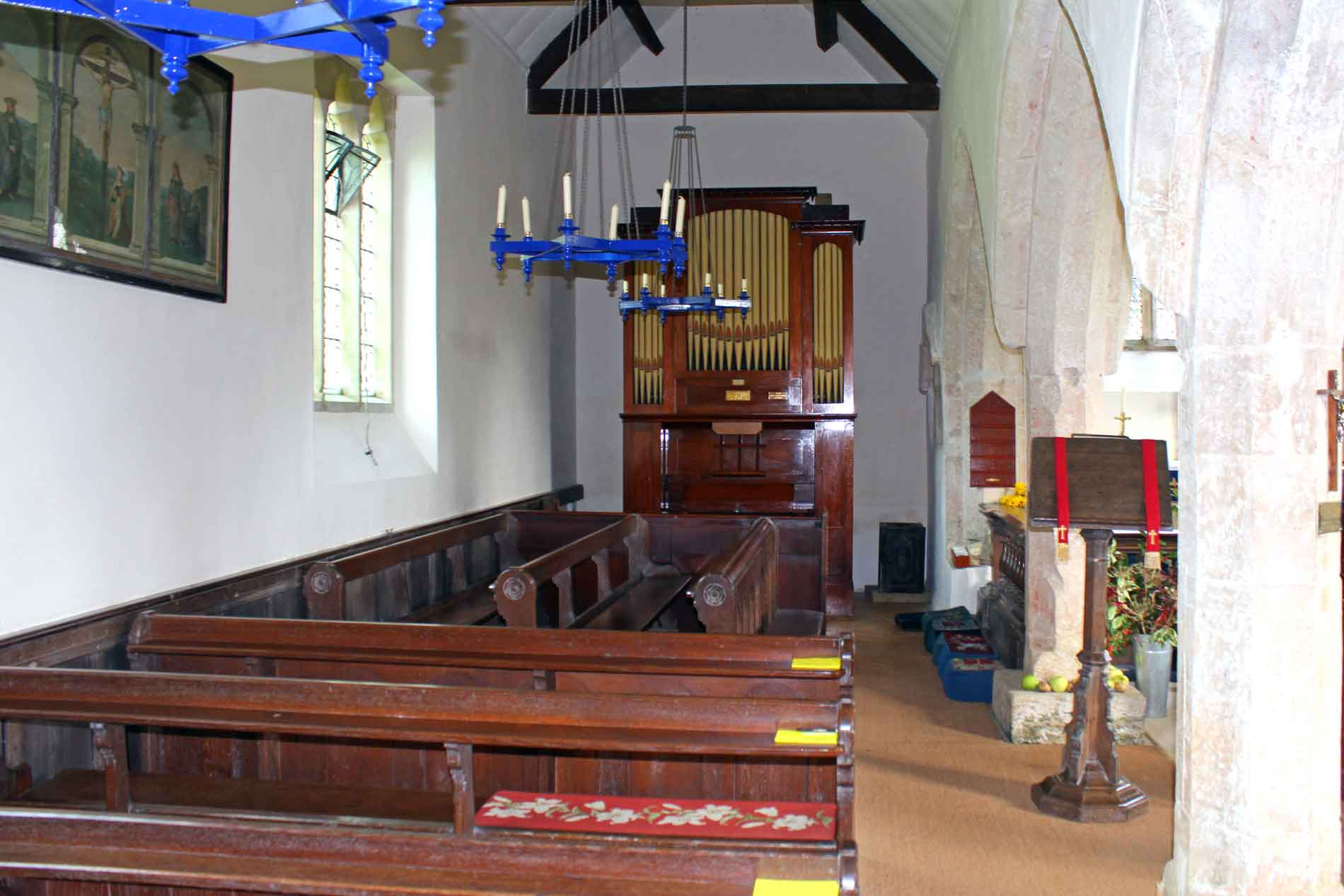 North Arcade of Little Badminton Church with the Organ