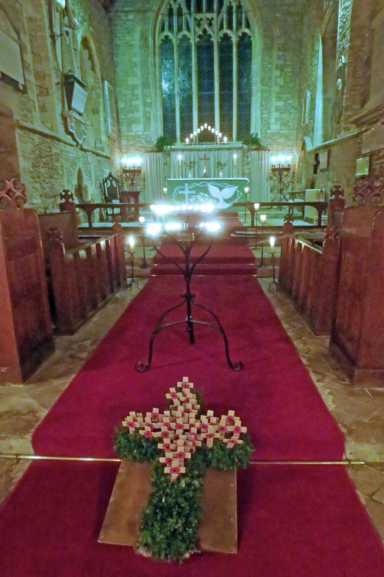 Floral Remembrance Cross in Hawkesbury Church